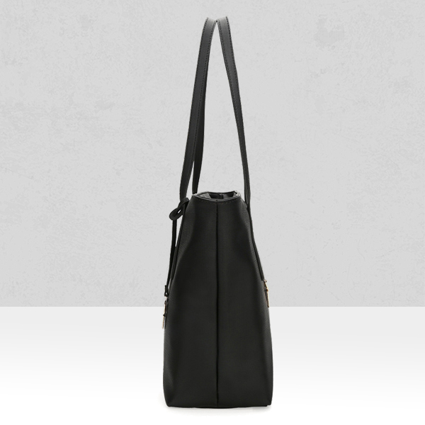 Three Pieces Leather Plain Shoulder Bags - Black