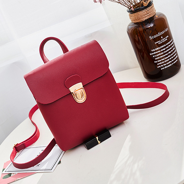Square Shaped Press Lock Vertical Bags - Burgundy