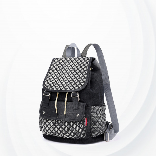 Checks Pattern Drawstring Casual Backpacks - Black