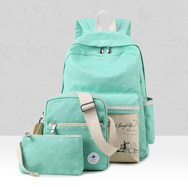 Printed Three Pieces Canvas Backpack Set - Sea Green