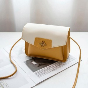 Square Shaped Bee Patched Messenger Bag - Yellow