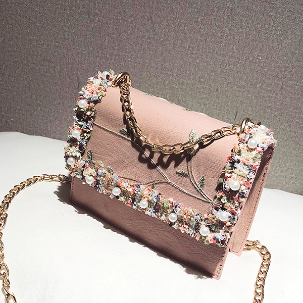 Lace Patch Pearl Thread Art Messenger Bags - Pink