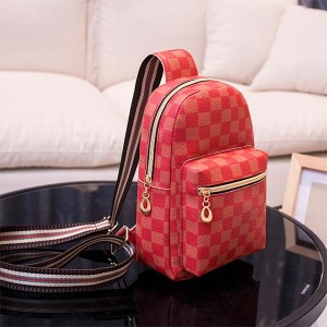 Check Pattern Pu Leather One Strap Shoulder Chest Bag - Red