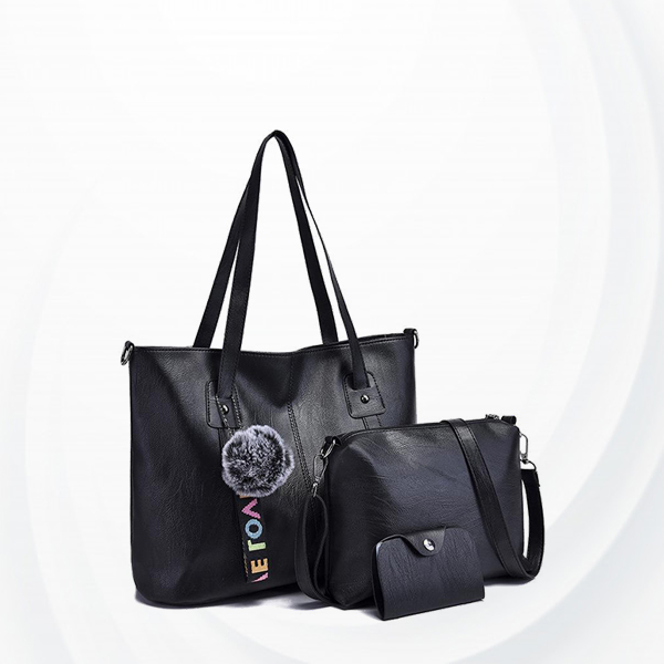 Synthetic Leather Three Pieces Shoulder Bags Set - Black