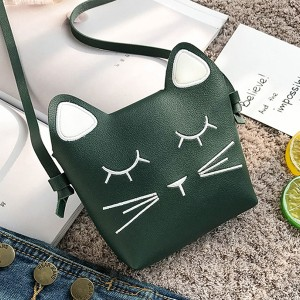 Cat Shaped Mini Shoulder Pocket Size Bags - Green