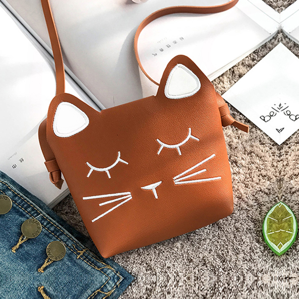 Cat Shaped Mini Shoulder Pocket Size Bags - Brown