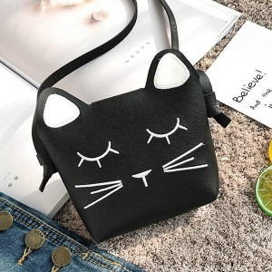 Cat Shaped Mini Shoulder Pocket Size Bags - Black