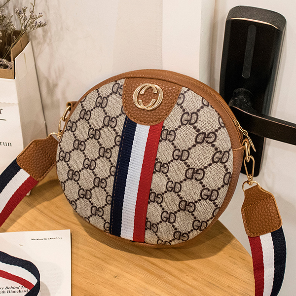 Striped Contrast Round Messenger Bags - Brown