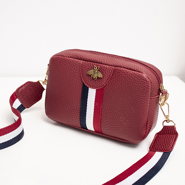 Bee Patched Zipper Women Formal Messenger Bag - Red