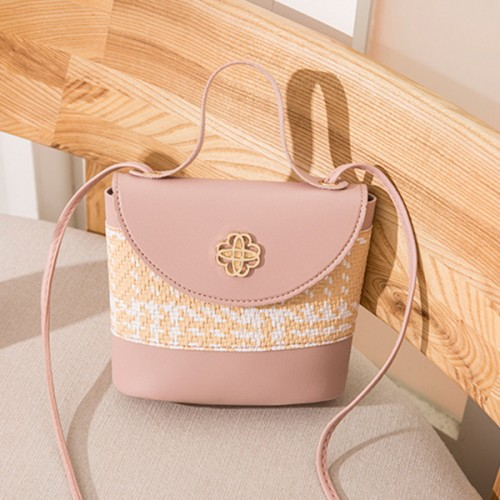 Contrast Textured Women Fashionable Shoulder Bags - Pink