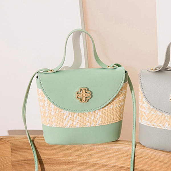 Contrast Textured Women Fashionable Shoulder Bags - Green