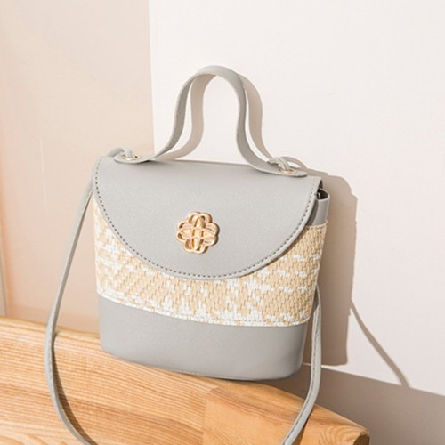 Contrast Textured Women Fashionable Shoulder Bags - Gray