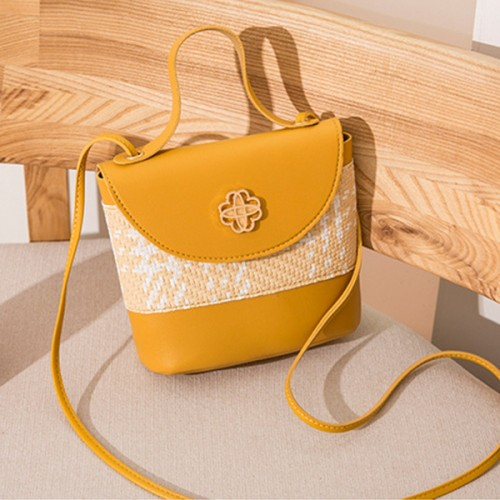 Contrast Textured Women Fashionable Shoulder Bags - Yellow