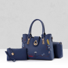 3 Piece Handbags Perfect Quality PU Polyester Blue Color