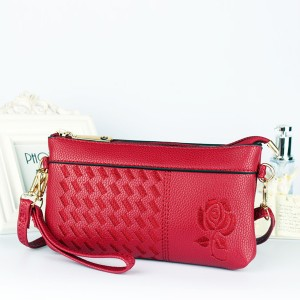 Rose Thread Art Handy Money Wallet Wristlet - Red