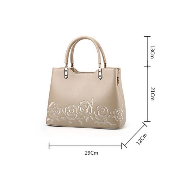 Elegant Embroidery Ladies Fashion Messenger Bag Khaki