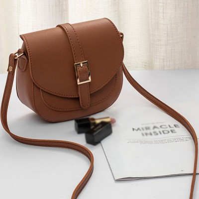 Buckle Patch Magnetic Closure Synthetic Leather Bags - Brown