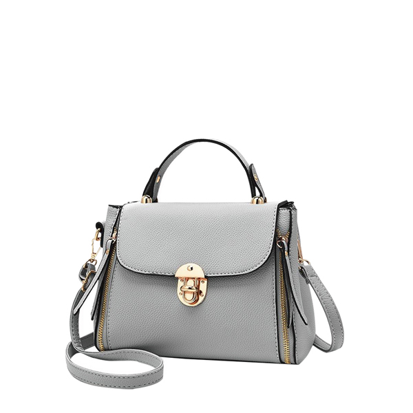 Zipper Decorated PU Leather Grey Handbag