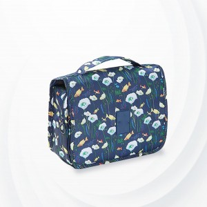 Floral Printed Traveller Cosmetics Bags - Dark Blue