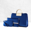 Patent Leather Classic Metallic Bag 3 Piece Set Blue