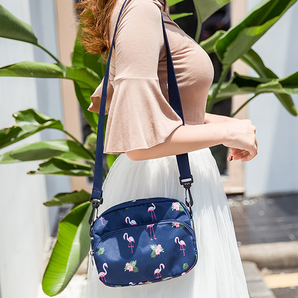 Canvas Printed Front Zipper Shoulder Bags - Blue