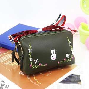Rabbit Thread Floral Strap Messenger Bags - Green