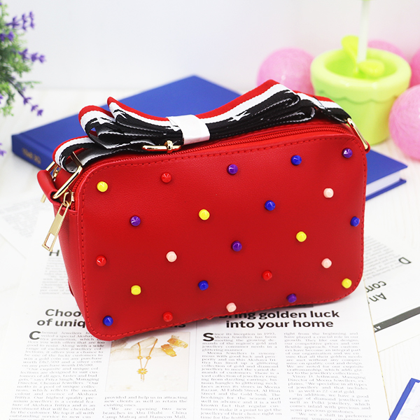 Beads Decorated Zipper Messenger Bags - Red
