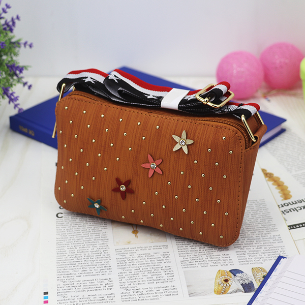 Rivets Patched Floral Crystal Mesh Pattern Bags - Brown