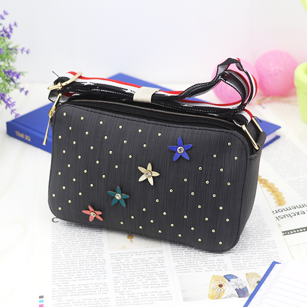 Rivets Patched Floral Crystal Mesh Pattern Bags - Black