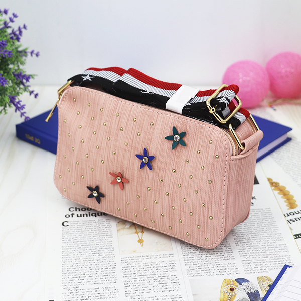 Rivets Patched Floral Crystal Mesh Pattern Bags - Pink