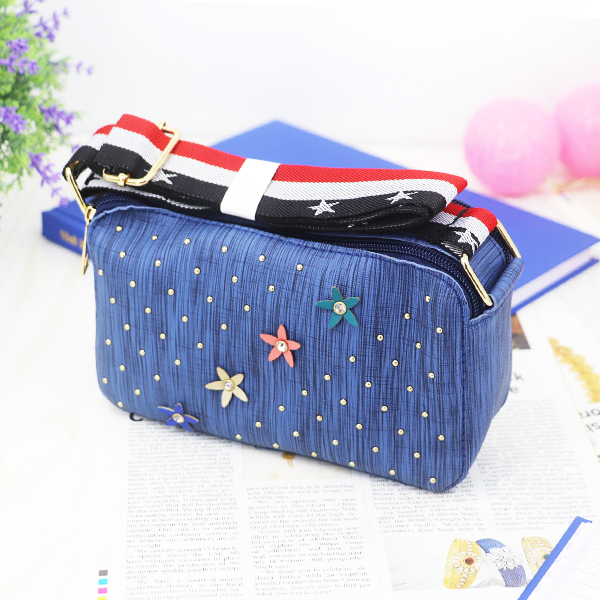 Rivets Patched Floral Crystal Mesh Pattern Bags - Blue