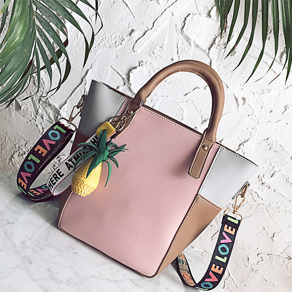 Multicolor Patchwork Pink Contrast Shoulder Bag