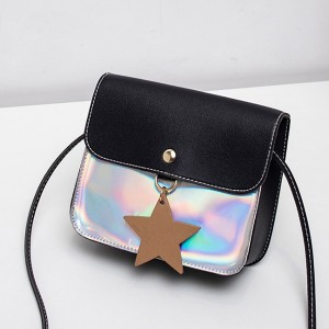 Simple Holographic Contrast Star Messenger Bags - Black