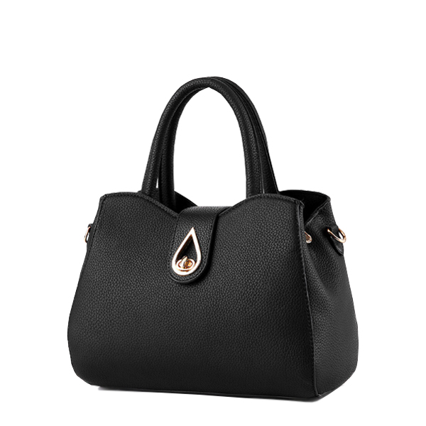 Simple Ladies Elegant PU Leather Handbag Shoulder Bag Black