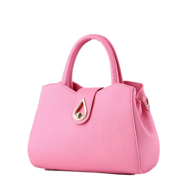 Simple Ladies Elegant PU Leather Handbag Shoulder Bag Pink