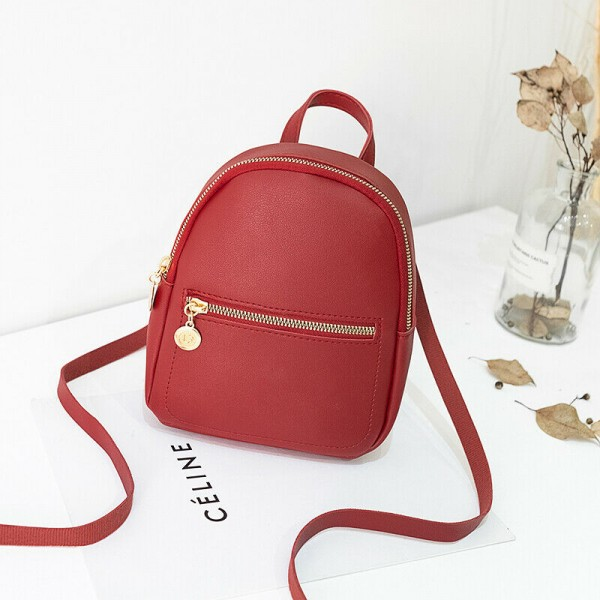 Pu Leather Zipper Casual Travel Bag Women Backpack - Red