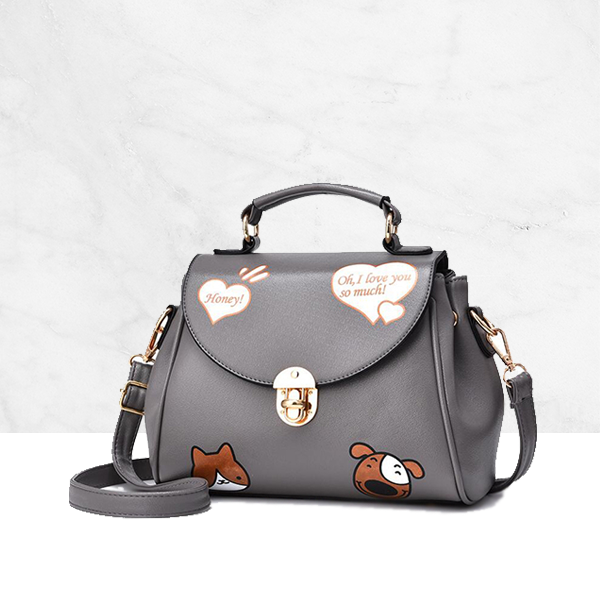 Cartoon Hearts Printed Grey Handbag