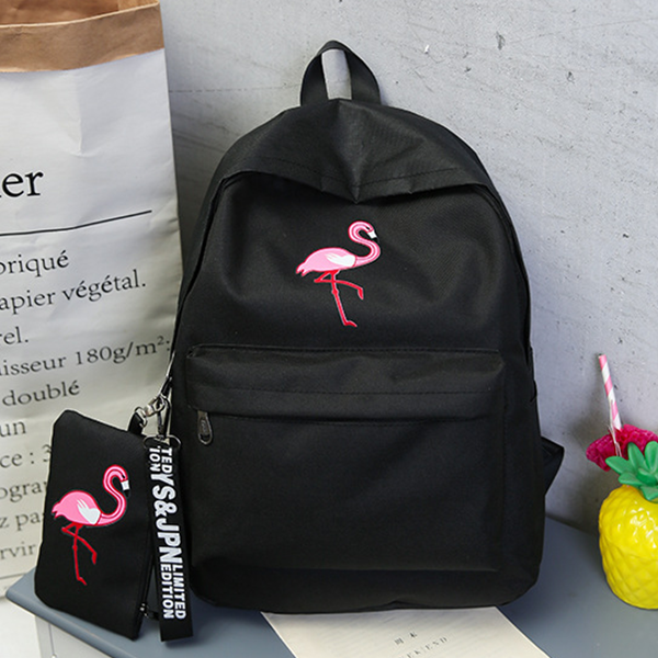 Flamingo Canvas Daily Use Casual Backpacks - Black