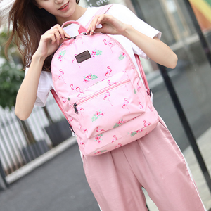 Large Space Printed Traveller Backpacks - Pink