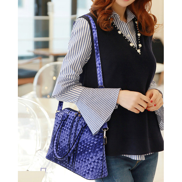 Retro Fashion Three Piece Ladies Shoulder Bag Purple