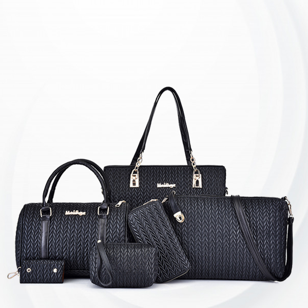 Textured Six Pieces Wide Handbags Set - Black