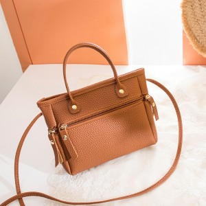 Zipper Closure Leather Textured Shoulder Bags - Brown