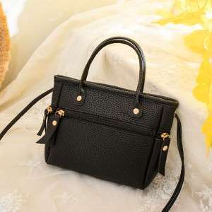 Zipper Closure Leather Textured Shoulder Bags - Black