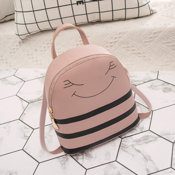 Round Shaped Synthetic Leather Shoulder Bags - Pink