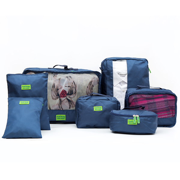 Seven Pieces Wide Space Traveller Canvas Bags - Blue