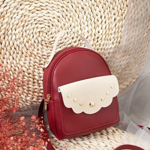Cute Decorated Zipper Mini Mobile Backpack - Red