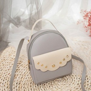 Cute Decorated Zipper Mini Mobile Backpack - Grey