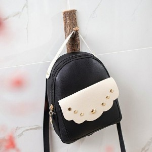 Cute Decorated Zipper Mini Mobile Backpack - Black