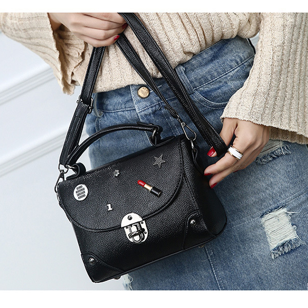 High Quality PU Leather Black Messenger Bags