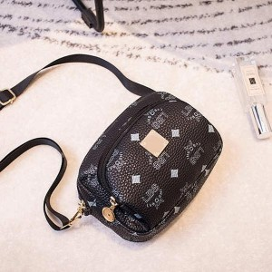 Printed Double Zipper Mobile Coin Messenger Bags - Black